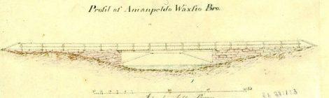 Sillan kuva on piirretty v. 1821 Vääksynjoen karttaan, joka liittyy Vesijärven pinnan laskemiseen. Kuvalähde: Kanavamuseo